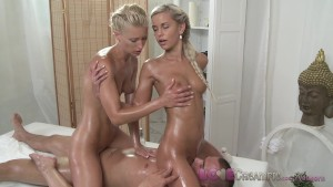 Love Creampie Two horny and shaven young blondes enjoy studs big hard cock