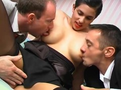 Glamorous lady gives it up to two luc...