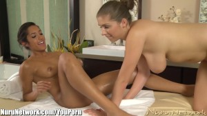 NuruNetwork Tanned Lesbian Babes First Massage