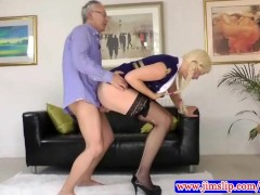 Blonde in pony tails fucked by old man