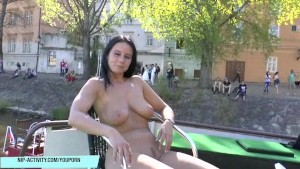 Crazy babe Enza has fun on public streets