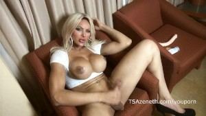 Amazon Tranny Azeneth in white fishnet