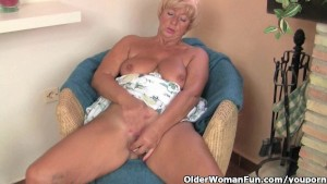 Chunky grandma masturbates with her fingers and a vibrator