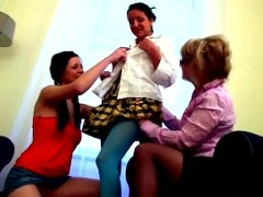 Two teen students come to their teacher's home and get seduced by old lesbian