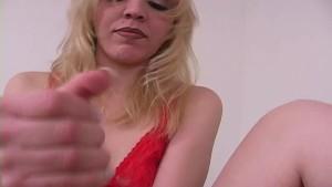 Handjob from cute amateur blonde slut 1