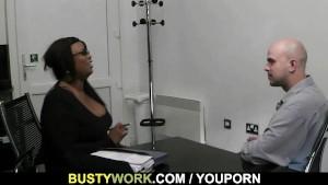 Big titted ebony fatty rides white dick