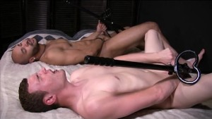 Two guys fuck themselves with dildos on poles - Gay Amateur Spunk