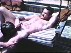 Vintage scene of sex by the pool - Blue Vanities