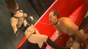 Young mistress fuck his old pet in black lingerie