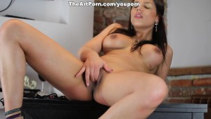 Angel Rivas enticing strip and lingerie nude tease