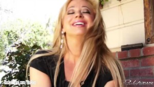 Rachel Aziani takes her panties off outdoors then masturbates