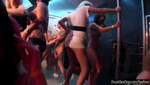 Sexy lesbians dancing in club
