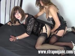 Strapon Jane Fucks Crossdresser Emily From Behind With Strapon Cock