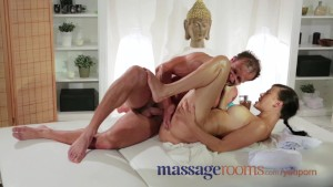 Massage Rooms Beautiful big tits girl squirts and gets pumped by horny guy