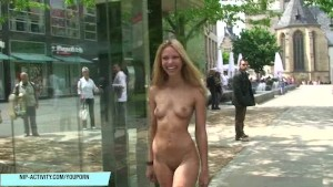 Pretty chick celine getting naked outdoor
