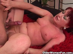 Red hot grandma gets her small tits c...