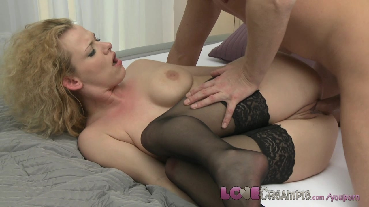 Love Creampie Mature horny mistress in stockings fucks her young lover