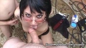 Sweet Babe Riley Mason blowjob cock-banged gets Jizz on her Glasses Facial