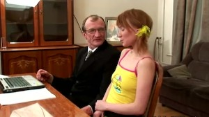 Redhead teen student fucked by her math teacher at his home