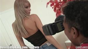 Sexy Photoshoot Becomes Interracial Gangbang