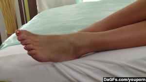 Skinny Blonde Girlfriend Brings Herself To Orgasm