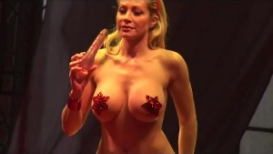 busty strip show on show stage