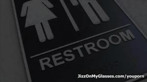 Horny cutie Veronica Jett sucks big dick on restroom then gets Jizz on her glasses
