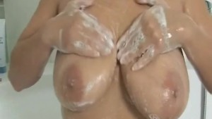 monster boobs takes a shower