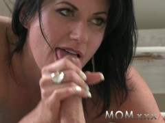 MOM Mature dark haired MILF can't get...