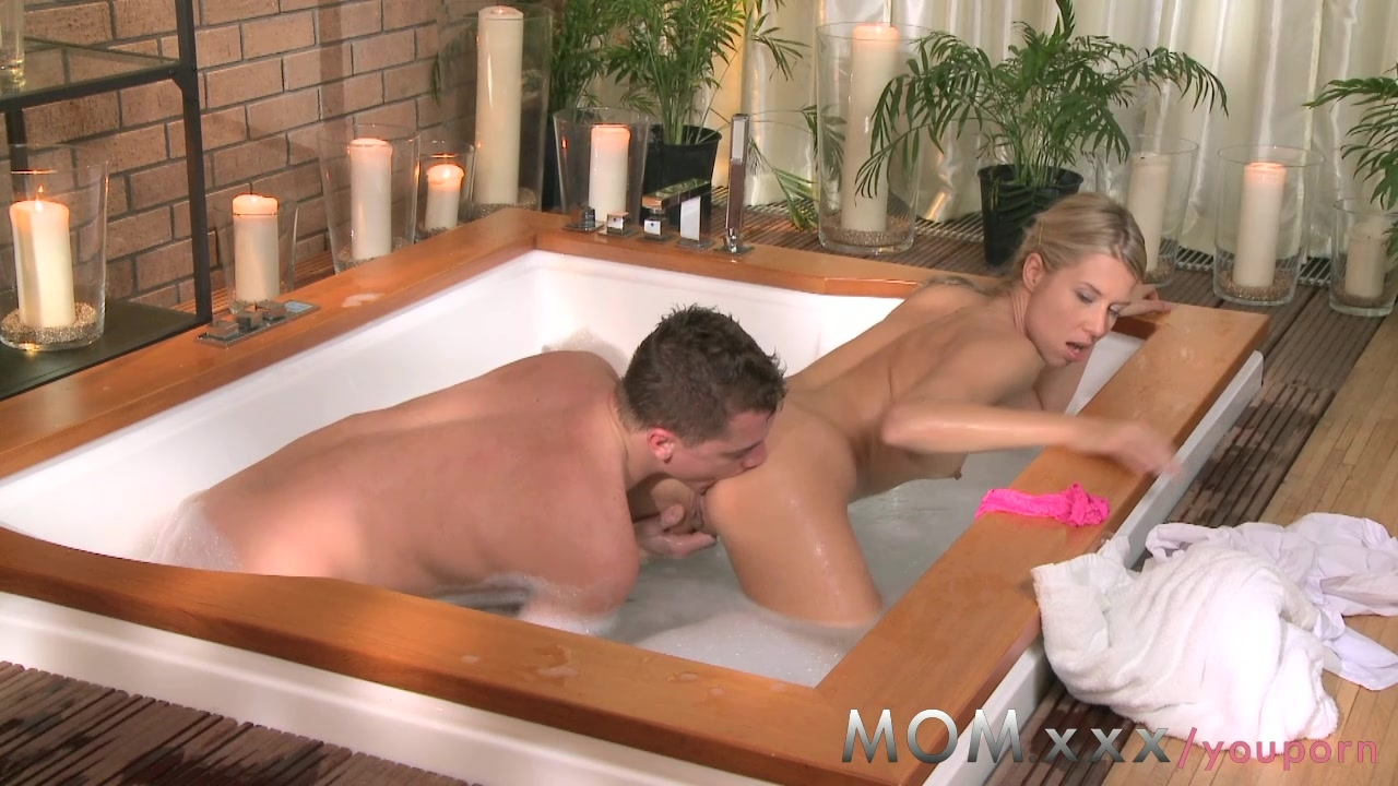 MOM Blonde with Small Tits loves Fucking in the Bath