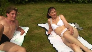 french threesome in nature with voyeur papy