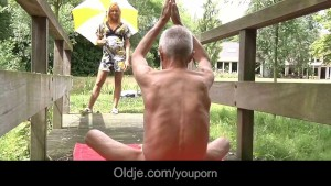 Old Guru teaches young Monica another gymnastic