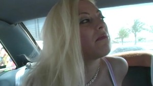 Blonde Gives Back Seat Blowjob
