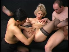 See: Hot babes share a cock...