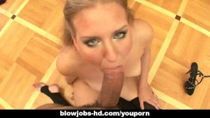 Lovely blondy Jennifer munches on a huge throbbing dick
