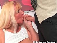 Slutty grandma sucks cock and gets a mouth full of cum