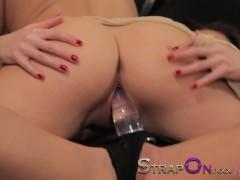 StrapOn Beautiful sexy lesbians enjoy sex toy orgasms