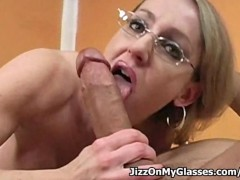 Porno hottie Lori Lust blasted with hot cum all over her glasses