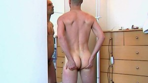 French fireman gets wanked his huge cock by me ! (ass massage really nice!)