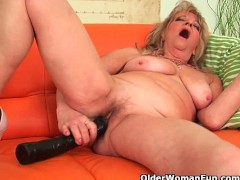Grandmother with large breasts pushes...