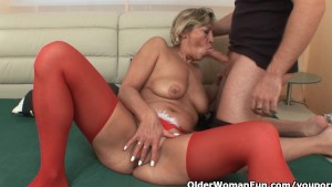 Lustful granny sucks cock and gets fucked