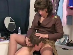 Mom calls her step-son and he was masturbating with her panties