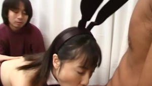 Cute Japanese bunny wraps three cum loaded cock
