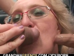 Picture Blond granny has threesome outdoors