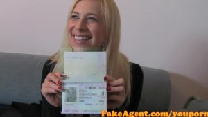 FakeAgent Busty Blonde Babe gets jizzed over in Casting