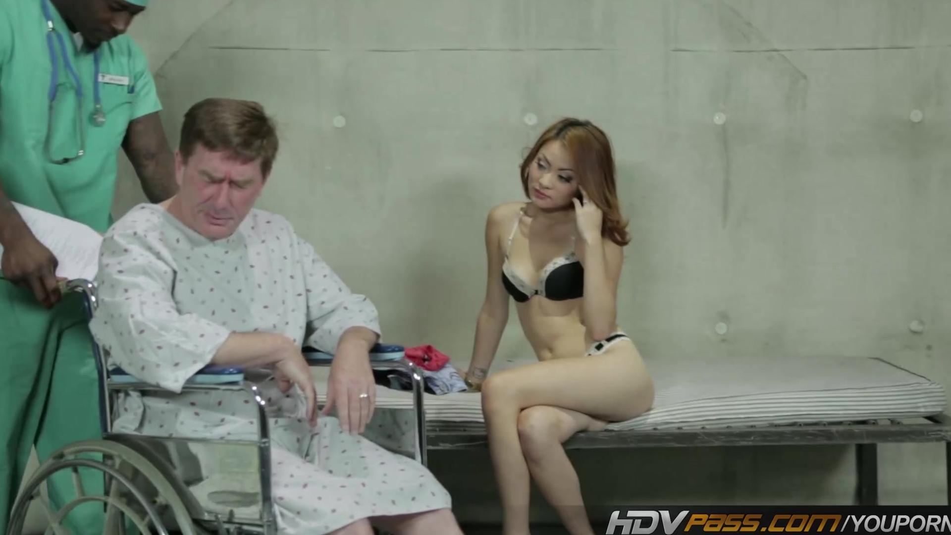 Asian teen nurse Kim Blossom fucks and sucks massive black cock in front of cuckold