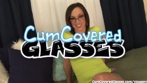 Cute Brunette Has Cum Covered Glasses
