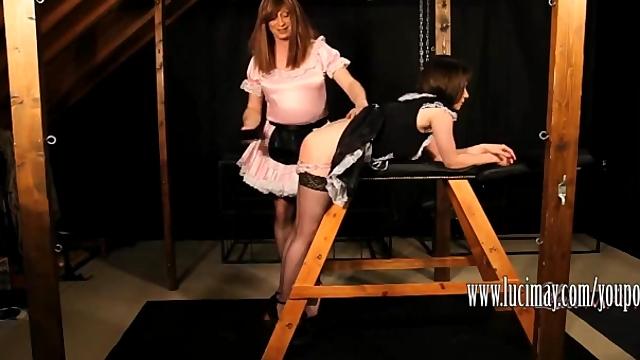 Kinky TGirl Maid Luci May has fun spanking Crossdressers tight ass