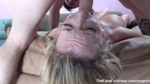 Busty slut gets her throat fucked hard