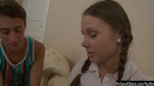 Pigtailed teen Liza gets ass fucked and cummed